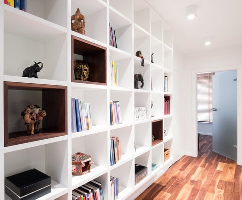 white bookshelf built-in storage system sarasota