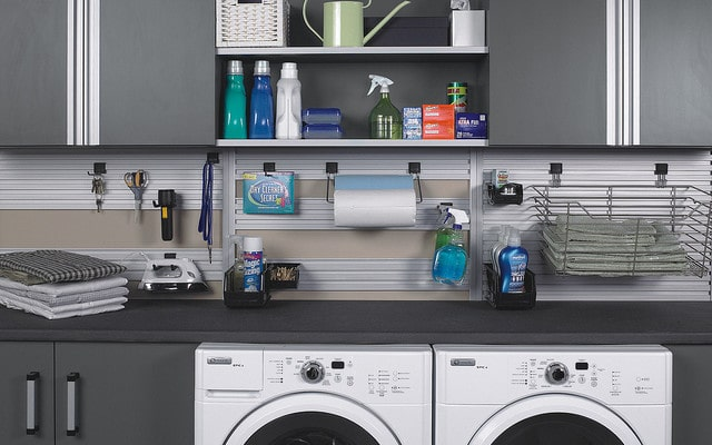 custom laundry room storage system