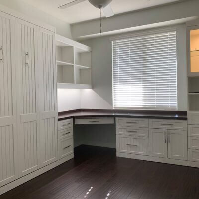 custom home office with murphy bed